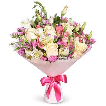 Букет Настроение - Весна: лизиантус и розы