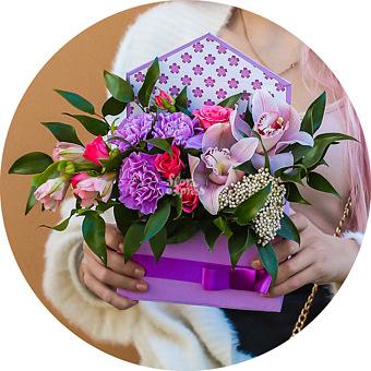 Букет Ultra violet: Гвоздики и орхидеи