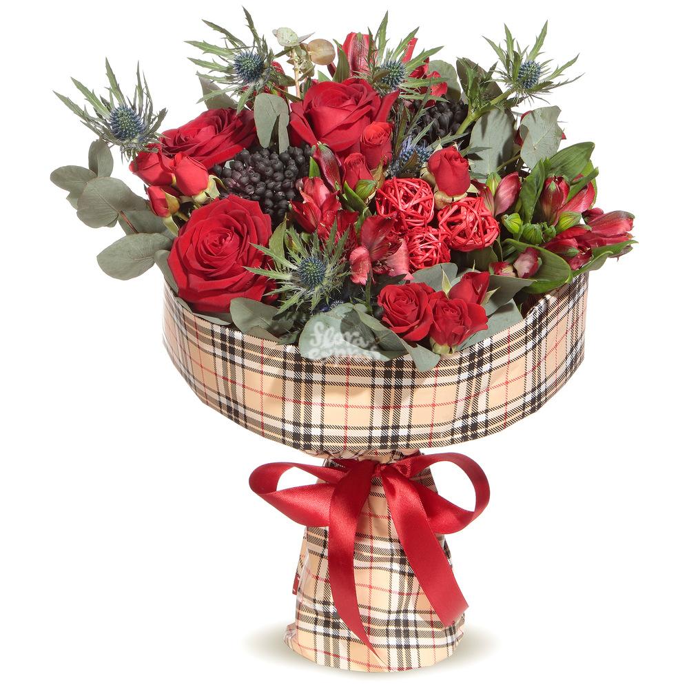 Букет «Flora Express» Розы и эрингиум фото